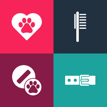 Set Pop Art Collar With Name Tag, Dog Pill, Pets Vial Medical And Heart Animals Footprint Icon. Vector