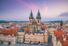 Old Town Square With Tyn Church In Prague, Czech Republic