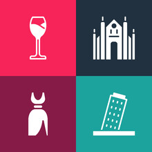 Set Pop Art Tower In Pisa, Woman Dress, Milan Cathedral And Wine Glass Icon. Vector