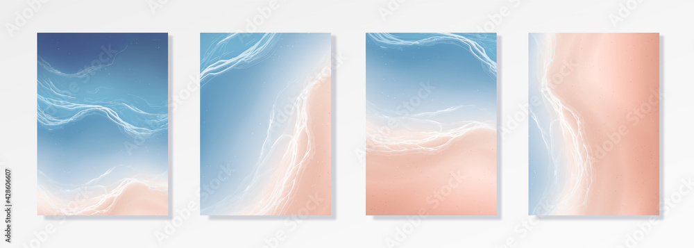 Colorful Summer banners, ocean tropical backgrounds, sea, surf beach paper cut. Beautiful top view cards, posters, flyers, party invitations. Summertime template collection. - obrazy, fototapety, plakaty