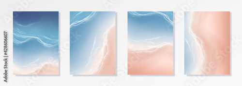 Fotografia Colorful Summer banners, ocean tropical backgrounds, sea, surf beach paper cut
