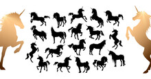 Magic Cute Unicorns Silhouettes. Stylish Icons, Vintage, Background, Horses Tattoo. Hand Drawn Vector Illustration, Outline, Isolated Different Unicorn Body Collection