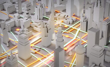3D Render Abstract City. City Plan, Streets And Skyscrapers With Neon Traffic Lights Effect