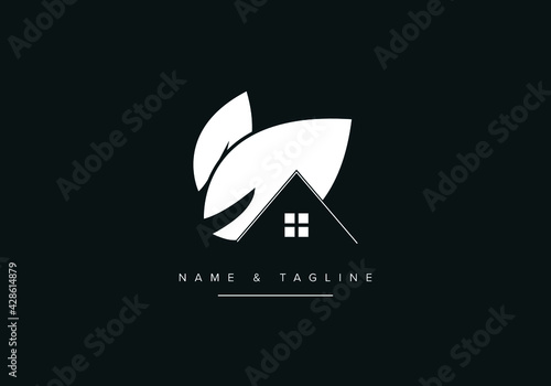 Minimal logo icon of House or home and leaf Fototapete