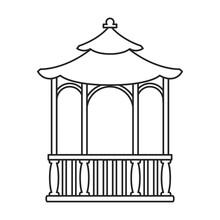 Gazebo Wooden Vector Outline Icon. Vector Illustration Gazebo Wooden On White Background. Isolated Outline Illustration Icon Of Pergola.