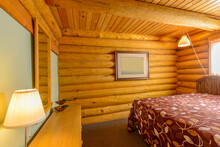 Beautiful And Modern Home And Log Cabin Bedroom Interior Design.