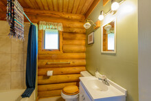 Fragment Of A Luxury Bathroom In Log Cabin Or Cottage.