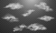 Realistic Fog Smoke Vape Cloud Effect Isolated Transparent Background Shapes Powder Cigarette Waves Wind.