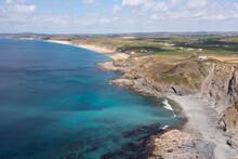 Aerial Photograph Of Loe Bar And Gunwalloe Beach, Cornwall, England.