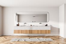 Light Bathroom Interior With Two Sinks And Long Mirror