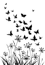 Floral Background With Grass, Flowers And Butterflies. Spring Or Summer Background.