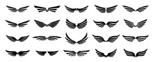 Set Of Black Wings Logos Or Icons. Wings Silhouette For Use In Logo And Emblem Design. Vector Wings Badges Collection.
