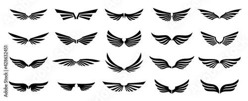 Fotografie, Tablou Set of black wings logos or icons