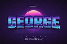 Editable Text Effect In Colorful Retro Style With Texture Effect