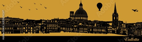 Vector city skyline silhouette - illustration,  Town in gold background,  Valletta Malta - fototapety na wymiar