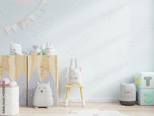 Mockup wall in the children's room on light blue wall background. - fototapety na wymiar