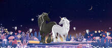 Unicorn Family With Tiny Fairies Flying And Playing In Magic Forest At Christmas Night,Vector Illustration Fantasyy Landscape Of Cute Winter Wonderland.Fairytale Background For Bed Time Stories