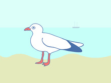 Seagull Standing On The Sand Against The Background Of Water In Sunny Weather. Close-up Vector Image Of A Seabird On An Aquatic Landscape With A Fishing Boat On The Horizon