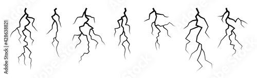 Vector lightning silhouettes set. Elements for thunderstorm design. - fototapety na wymiar