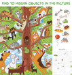 Cats are sitting on a tree. Find 10 hidden objects