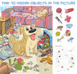 Destroyer. Pet made a mess in the house. Dog is waiting for the return of its owner at home. Find 10 hidden objects in the picture. Puzzle Hidden Items. Funny cartoon character