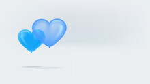 Blue Heart Air Balloons On White Background. Banner With Copy Space Ready For A Text