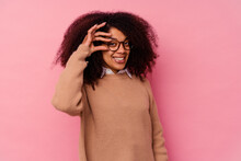 Young African American Woman Isolated On Pink Background Excited Keeping Ok Gesture On Eye.