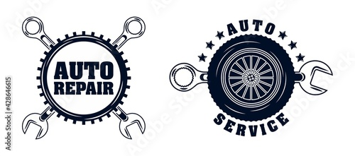 Fotografie, Obraz garage badge vector collection set
