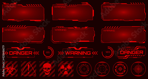 Fotografia Futuristic background with warning message danger