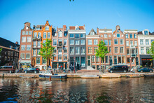 Traditional Dutch Medieval Houses In Amsterdam Capital Of Netherlands