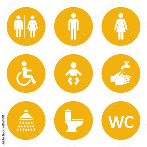 Fototapeta zestaw ikon do wc obraz