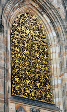 Vertical Shot Of The St. Vitus Cathedral Window In Prague, Czech