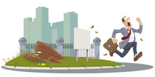 Man Runs On City Street. Businessman Hurries To Work. Illustration For Internet And Mobile Website.