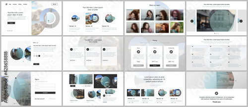 Obraz Presentation design vector templates, multipurpose template for presentation slide, flyer, brochure cover design with abstract circle banners. Social media web banner. Social network photo frame. - fototapety do salonu