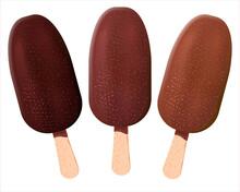 Chocolate Covered Ice-cream Isolated On White Ice Cream Eskimo Realistik Illustration. 3 Different Flavors Of Ice Cream