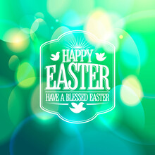 Easter Calligraphic Banner Design On A Green Bokeh Lights Background