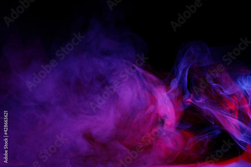 Canvas Art photo of purple smoke moves on black background