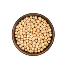 Chickpea In Clay Bowl Isolated On White Background, Top View
