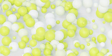 Abstract Lime And White Balls Spheres 3d Render Illustration