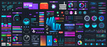 Dark Set Elements User Interface. Universal Collection For Web, UI, UX And KIT. Colorful Interface, Neon Design. Big Set UI Elements - Navigation, Buttons, Graphic Bars And Charts. Vector Collection