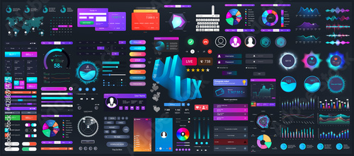Dark set elements user interface. Universal collection for Web, UI, UX and KIT. Colorful interface, neon design. Big set UI elements - navigation, buttons, graphic bars and charts. Vector collection - fototapety na wymiar