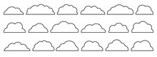 Line Black Empty Flat Vector Cloud Set. Clouds Cartoon Symbols On White Background For Web Site Design, Logo, App. Bubble Icon Collection For Infographic Design. Label And Stickers
