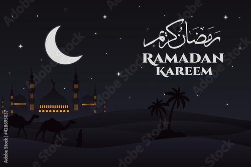 Fotografia flat mosque ramadan kareem camel night landscape background