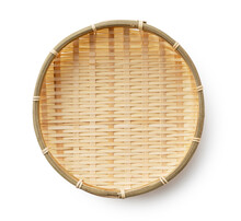 Bamboo Basket Placed On A White Background
