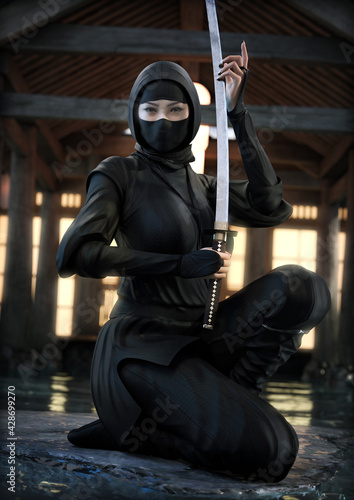 Fotografia Portrait of an Asian female ninja posing with her weapon