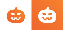 Halloween White And Orange Pumpkin Creepy Face In Graphic Symbol.