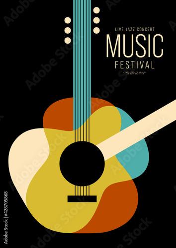Fotografia, Obraz Music poster design template background decorative with guitar