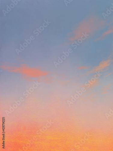 Tablou Canvas 夕焼け(朝焼け)空の風景イラスト