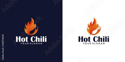 Obraz na plátně Hot chili, spicy food logo design template