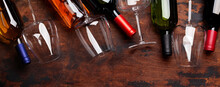 Various Wine Bottles And Glasses
